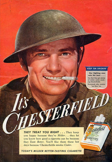 Chesterfield Cigarettes Keep Em Smokin 1942 | Sex Appeal Vintage Ads and Covers 1891-1970