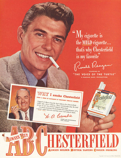 Chesterfield Cigarettes Ronald Reagan 1948 | Sex Appeal Vintage Ads and Covers 1891-1970