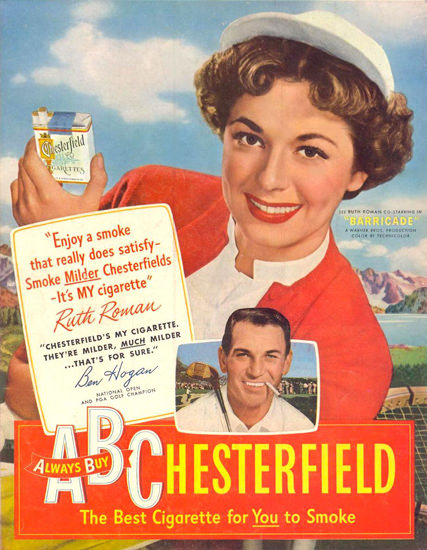 Chesterfield Cigarettes Ruth Roman 1950 | Sex Appeal Vintage Ads and Covers 1891-1970