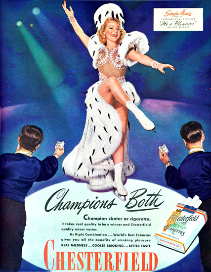 Chesterfield Cigarettes Sonja Henie 1945 | Sex Appeal Vintage Ads and Covers 1891-1970