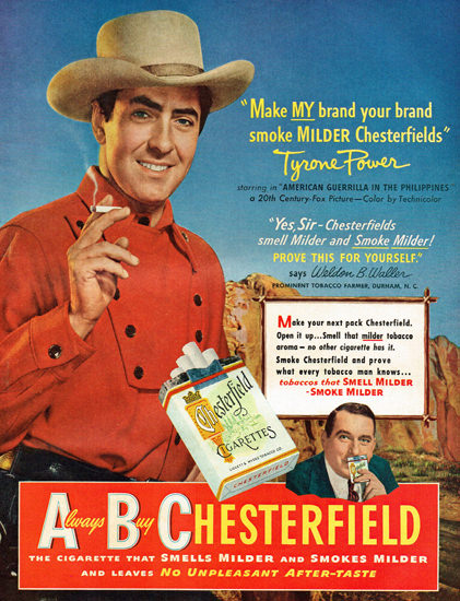 Chesterfield Cigarettes Tyrone Power 1950 | Sex Appeal Vintage Ads and Covers 1891-1970
