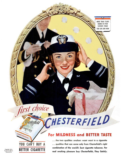 Chesterfield Cigarettes Woman In War | Sex Appeal Vintage Ads and Covers 1891-1970