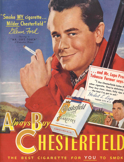 Chesterfield Glenn Ford Mr Soft Touch | Sex Appeal Vintage Ads and Covers 1891-1970