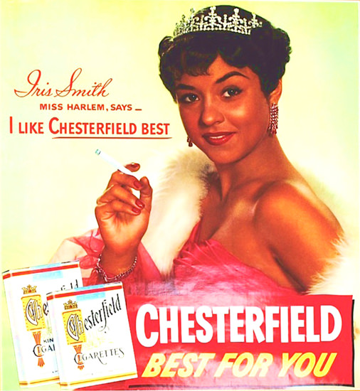 Chesterfield Iris Smith Miss Harlem 1953 | Sex Appeal Vintage Ads and Covers 1891-1970