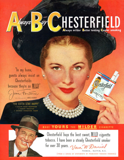 Chesterfield Joan Fontaine James Stewart 1949 | Sex Appeal Vintage Ads and Covers 1891-1970