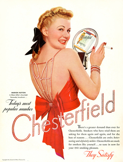 Chesterfield M Hutton Glenn Miller Moonlight 1941 | Sex Appeal Vintage Ads and Covers 1891-1970
