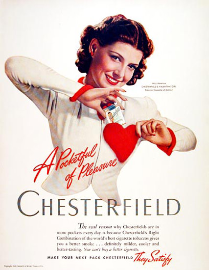 Chesterfield Miss America Valentine Donnelly 41 | Sex Appeal Vintage Ads and Covers 1891-1970