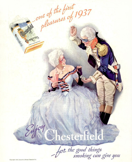 Chesterfield One Of The First Pleasures Of 1937 | Sex Appeal Vintage Ads and Covers 1891-1970
