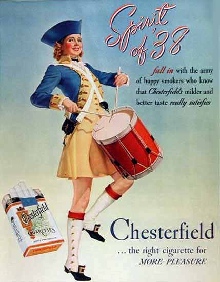 Chesterfield Spirit Of 1938 Army Happy Smokers | Sex Appeal Vintage Ads and Covers 1891-1970