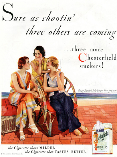 Chesterfield Sure As Shootin Girls 1932 | Sex Appeal Vintage Ads and Covers 1891-1970