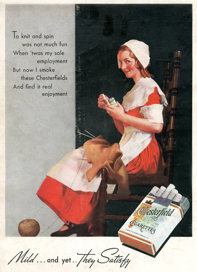 Chesterfield To Knit Was Not Much Fun 1935 | Sex Appeal Vintage Ads and Covers 1891-1970