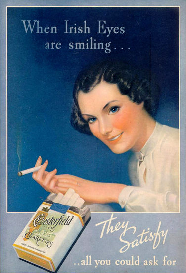 Chesterfield When Irish Eyes Are Smiling 1936 | Vintage Ad and Cover Art 1891-1970