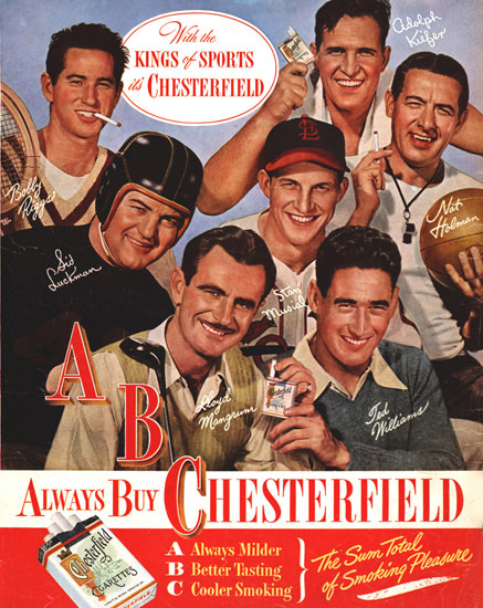Chesterfield With The Kings Of Sports 1947 | Sex Appeal Vintage Ads and Covers 1891-1970