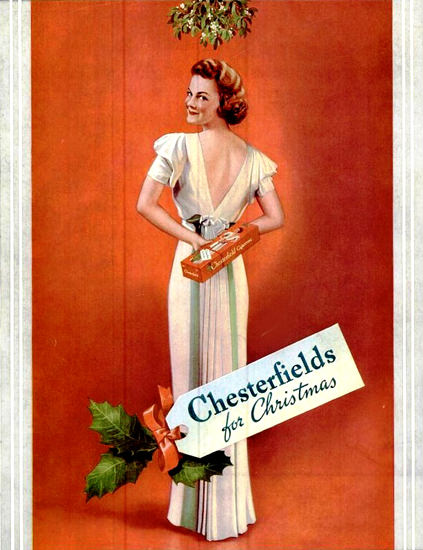 Chesterfields For Christmas 1937 | Sex Appeal Vintage Ads and Covers 1891-1970