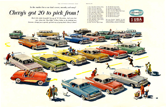 Cars On Line >> Chevrolet 1957 Chevys Got 20 To Pick From | Mad Men Art | Vintage Ad Art Collection