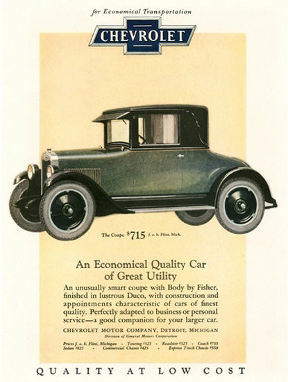 Chevrolet Automobile Economical Transportation | Vintage Cars 1891-1970