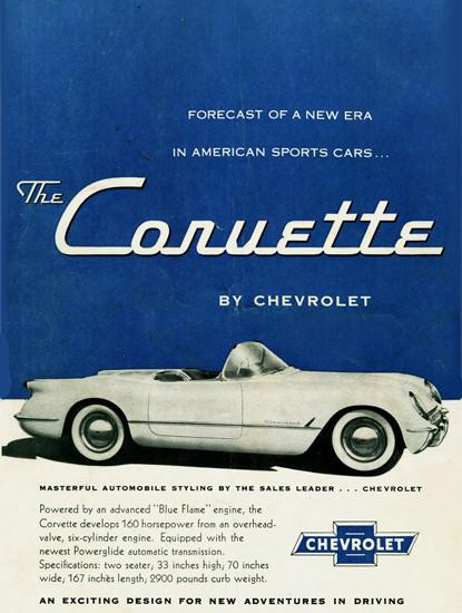 Chevrolet Corvette 1954 Exciting Design | Vintage Cars 1891-1970