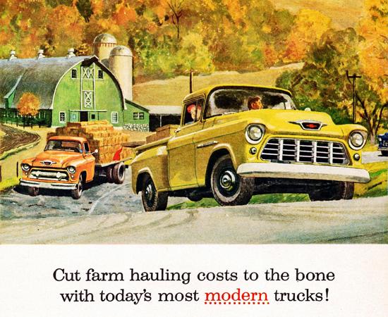 Chevrolet Trucks 1955 Cut Farm Hauling Costs | Vintage Cars 1891-1970