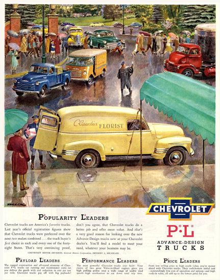 Chevrolet Trucks Advance-Design Popularity   Vintage Cars 1891-1970