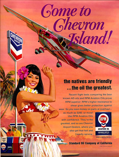 Chevron Oil Island Hawaiian Dancer | Sex Appeal Vintage Ads and Covers 1891-1970
