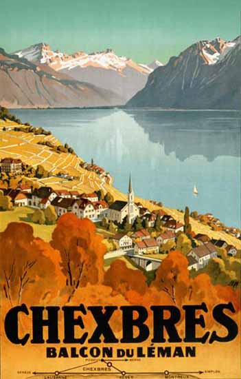 Chexbres Balcon Du Leman Lake Geneva Switzerland 1927 | Vintage Travel Posters 1891-1970