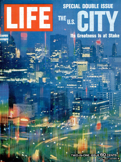 Chicago Downtown in the Twilight 24 Dec 1965 Copyright Life Magazine | Life Magazine Color Photo Covers 1937-1970