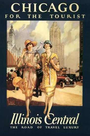 Chicago For Tourists Illinois Central Travel Luxery | Sex Appeal Vintage Ads and Covers 1891-1970