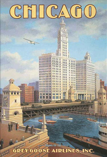 Chicago Gray Goose Airlines Flights | Vintage Travel Posters 1891-1970