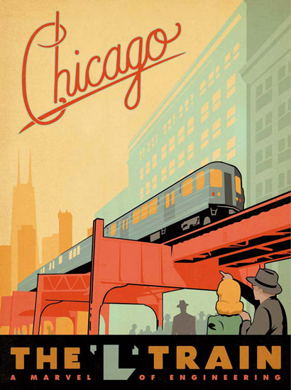 Chicago LTrain A Marvel Of Engeneering | Vintage Travel Posters 1891-1970