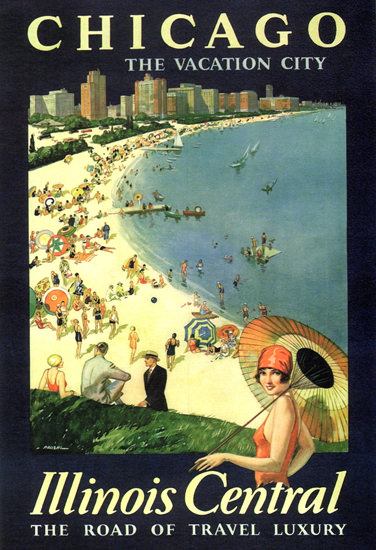 Chicago Vacation City Illinois Central Travel Luxery | Vintage Travel Posters 1891-1970