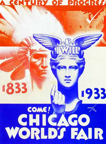 Chicago Worlds Fair 1933 Come George Petty | Vintage Ad and Cover Art 1891-1970