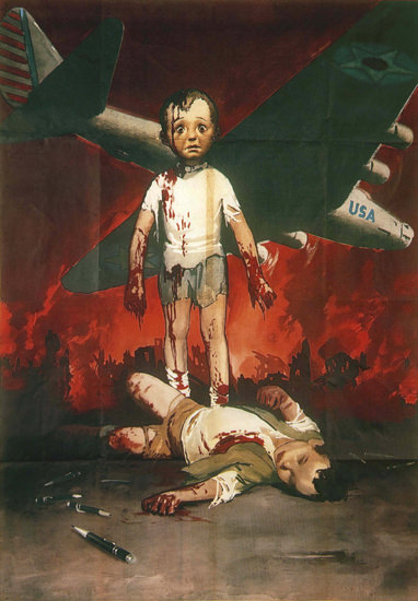Childeren Killed By US Air Force Anti American | Vintage War Propaganda Posters 1891-1970