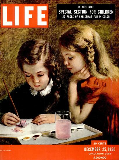 Children Painting 25 Dec 1950 Copyright Life Magazine | Life Magazine Color Photo Covers 1937-1970