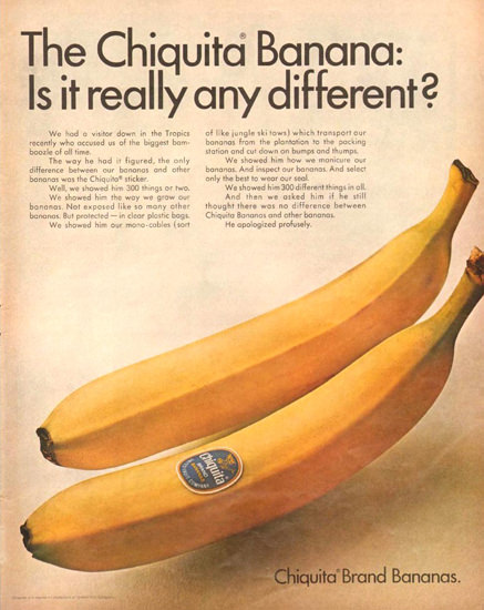 Chiquita Banana Is It Really Different 1966 | Vintage Ad and Cover Art 1891-1970