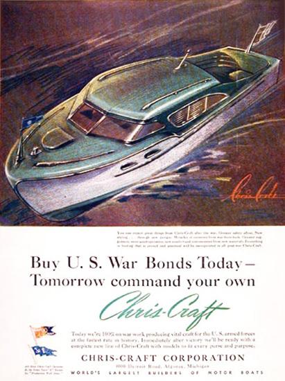 Chris-Craft Boats 1943 US War Bonds Today | Vintage War Propaganda Posters 1891-1970