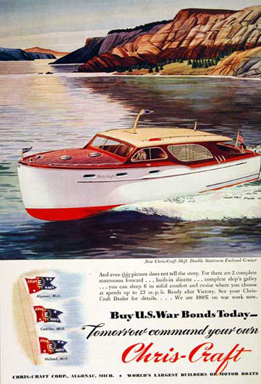 Chris-Craft Cruiser 1945 US War Bonds | Vintage War Propaganda Posters 1891-1970