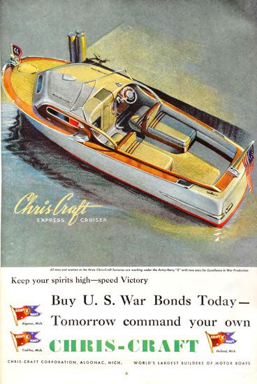 Chris-Craft US War Bonds Today   Vintage War Propaganda Posters 1891-1970
