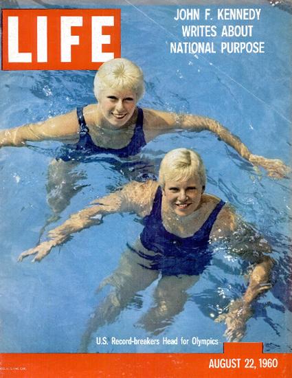 Chris von Saltza and Lynn Burke 22 Aug 1960 Copyright Life Magazine   Life Magazine Color Photo Covers 1937-1970