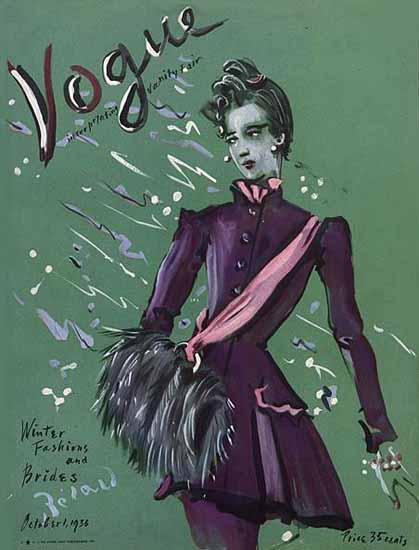 Christian Berard Vogue Cover 1936-10-01 Copyright | Vogue Magazine Graphic Art Covers 1902-1958