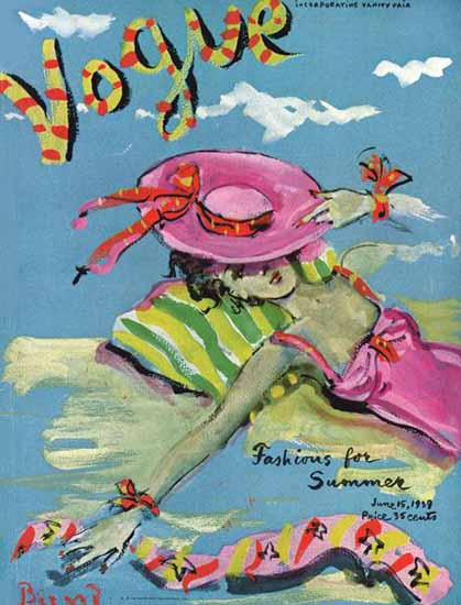 Christian Berard Vogue Cover 1939-06-15 Copyright | Vogue Magazine Graphic Art Covers 1902-1958