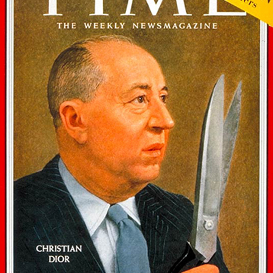 Christian Dior Time Magazine 1957-03 by Robert Vickrey crop | Best of Vintage Cover Art 1900-1970