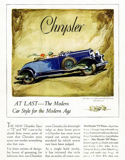 Chrysler 75 Roadster 1929 Modern Age by Fred Cole | Vintage Cars 1891-1970