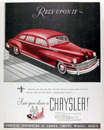 Chrysler New Yorker 1947 Rely Upon It Canada | Vintage Cars 1891-1970