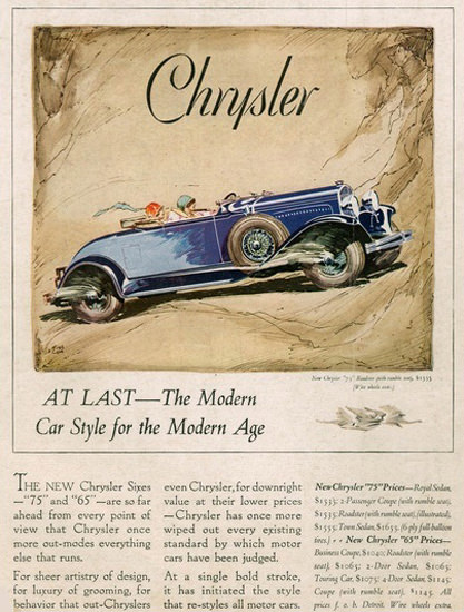 Chrysler Sixes 75 At Last The Modern Blue | Vintage Cars 1891-1970
