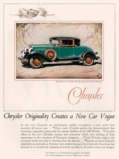 Chrysler Vogue Automobile Originality Creates | Vintage Cars 1891-1970