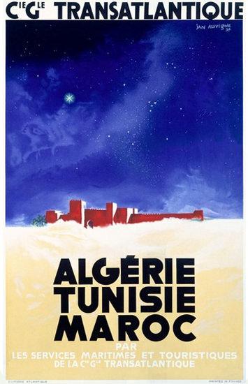 Cie Gle Transatlantique Algerie Tunisie Maroc | Vintage Travel Posters 1891-1970