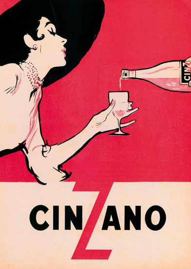 Cinzano Black Hat | Sex Appeal Vintage Ads and Covers 1891-1970
