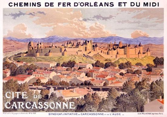 Cite De Carcassone Chemin De Fer D Orleans | Vintage Travel Posters 1891-1970