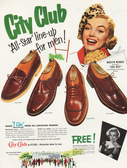 City Club Shoes Marilyn Monroe 1951 | Sex Appeal Vintage Ads and Covers 1891-1970