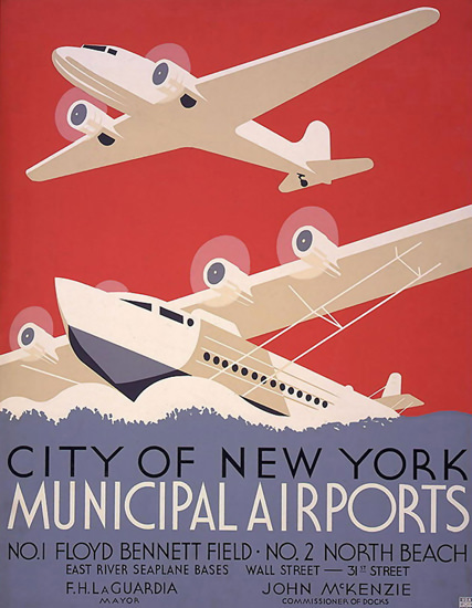 City Of New York Municipal Airports F Bennett | Vintage Travel Posters 1891-1970
